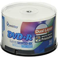 Smart Buy 50 Pack DVD+r Dl 8.5gb 8X DVD Plus R Double Layer Printable White Inkjet Blank Data Recordable Media 50 Discs…