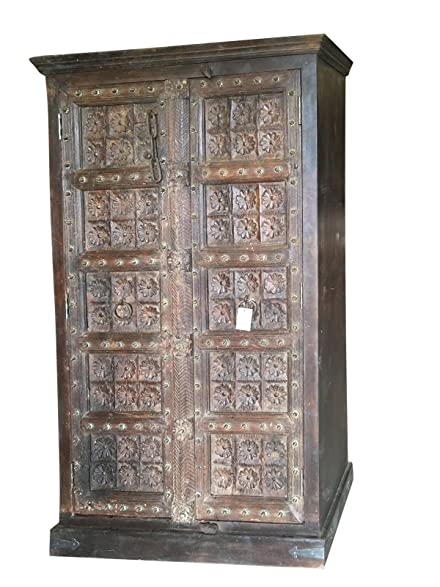 Antique Wardrobe Armoire Lotus Floral Carved Doors Indian Furniture Storage  Cabinet