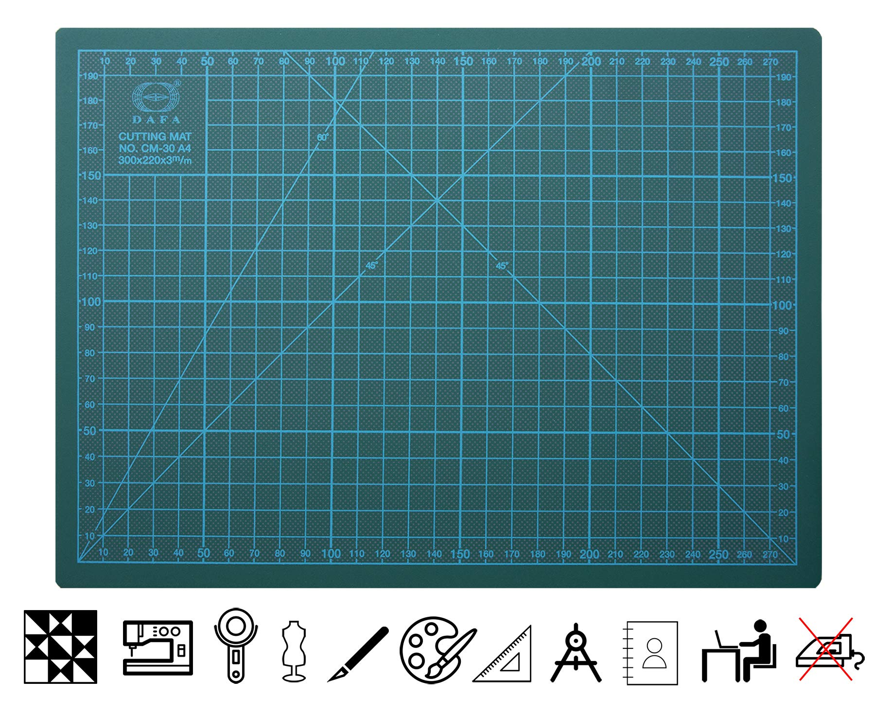 DAFA Professional 36'' x 24'' Self-Healing, Double-Sided Cutting Mat, Rotary Blade Compatible, (36x24), (24x18), (18x12), (12x9) Sizes, for Sewing, Quilting, Arts & Crafts by DAFA (Image #2)