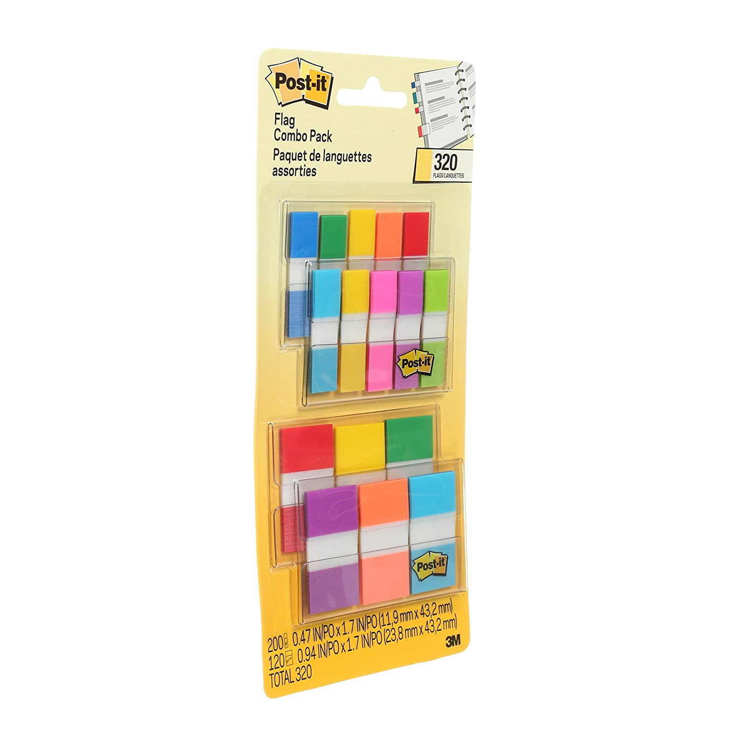 Removes Cleanly Writable Yellow Sticks Securely Pink 36//Dispenser Green Aqua Repositionable Red 1 in Durable Solid 6//Color Orange