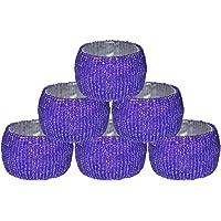 Prisha India Craft - Beaded Napkin Rings Set of 8 Blue - 1.5 Inch in Size-Perfect Wedding Napkin Rings