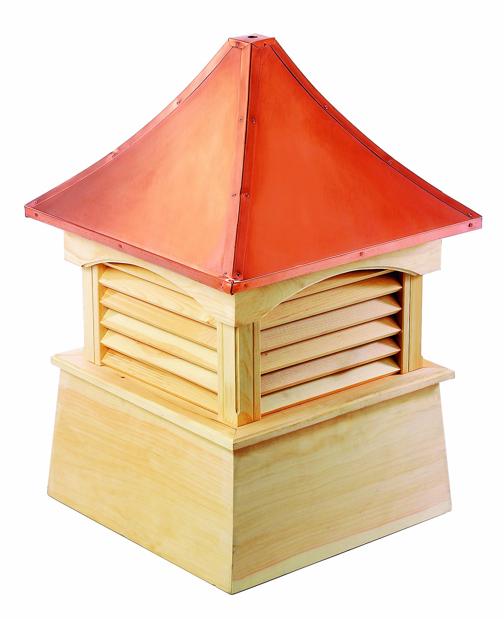 Good Directions Coventry Louvered Cupola with Pure Copper Roof, Cypress Wood, 36'' x 49'', Reinforced Rafters and Louvers, Cupolas