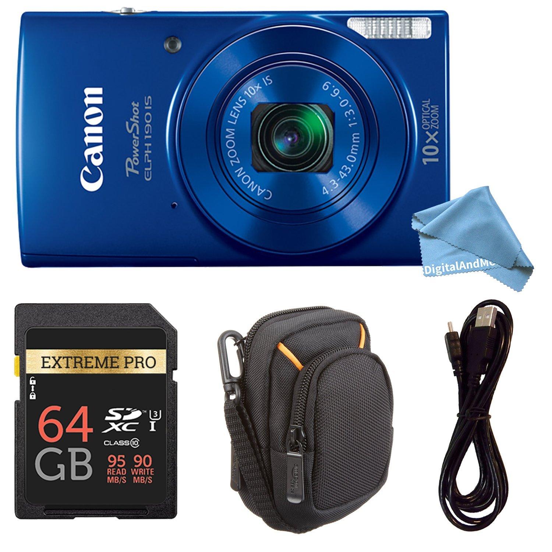 Canon PowerShot ELPH 190デジタルカメラComplete Bundle w/10 x光学ズームと画像安定Wi - Fi & NFC有効+ ELPH 190ケース+ SDカード+ USBケーブル 64GB ブルー B0788VM6SL