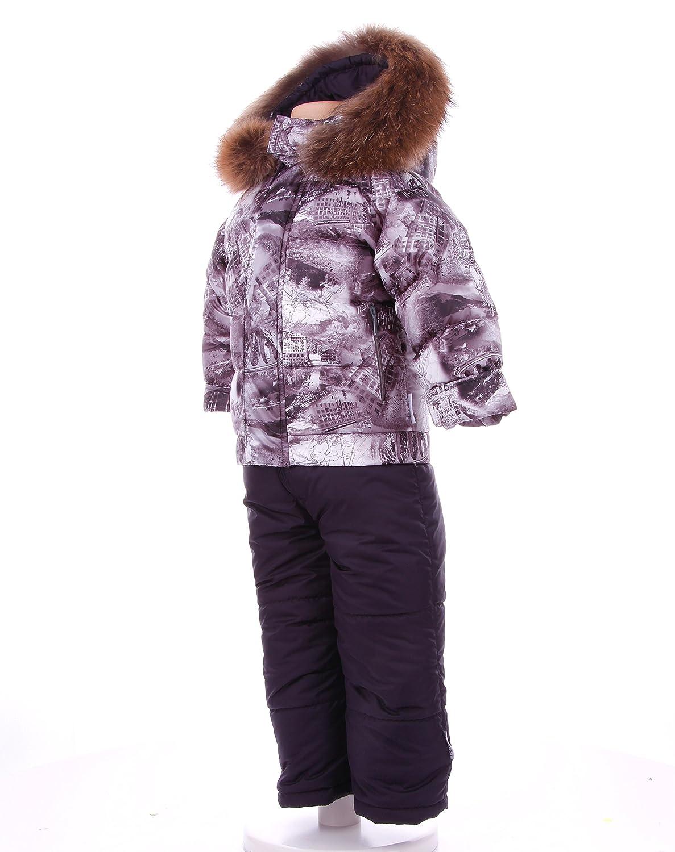 Junge Skianzug 2-teilig: Jacke + Hose-Isosoft wattiert mit Kaputze+abnehmbaren Echtfell -