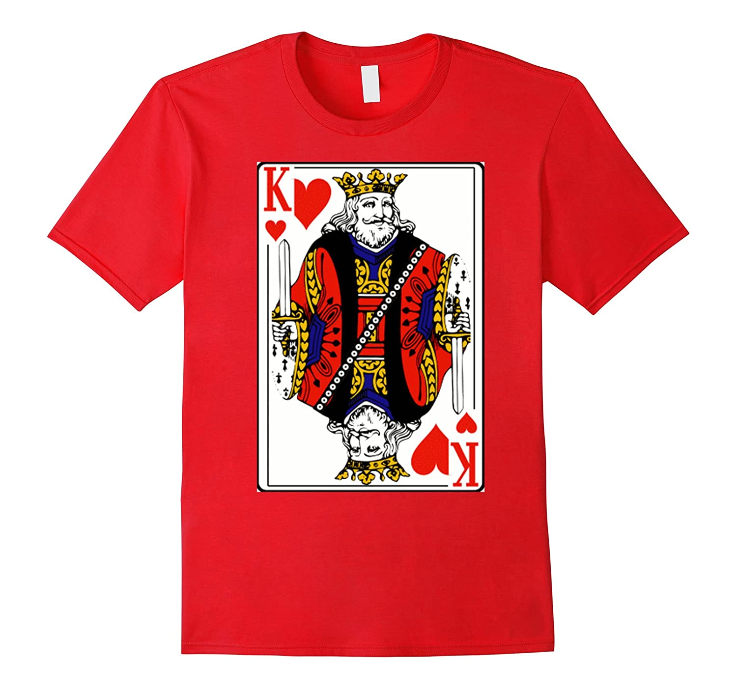 Vintage King Of Hearts Playing Card Tee Shirt Design Costume-FL