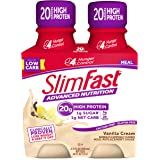 SlimFast Advanced Nutrition Vanilla Cream Shake – Ready to Drink Meal Replacement – 20g of Protein – 11 fl. oz. Bottle – 4 Count