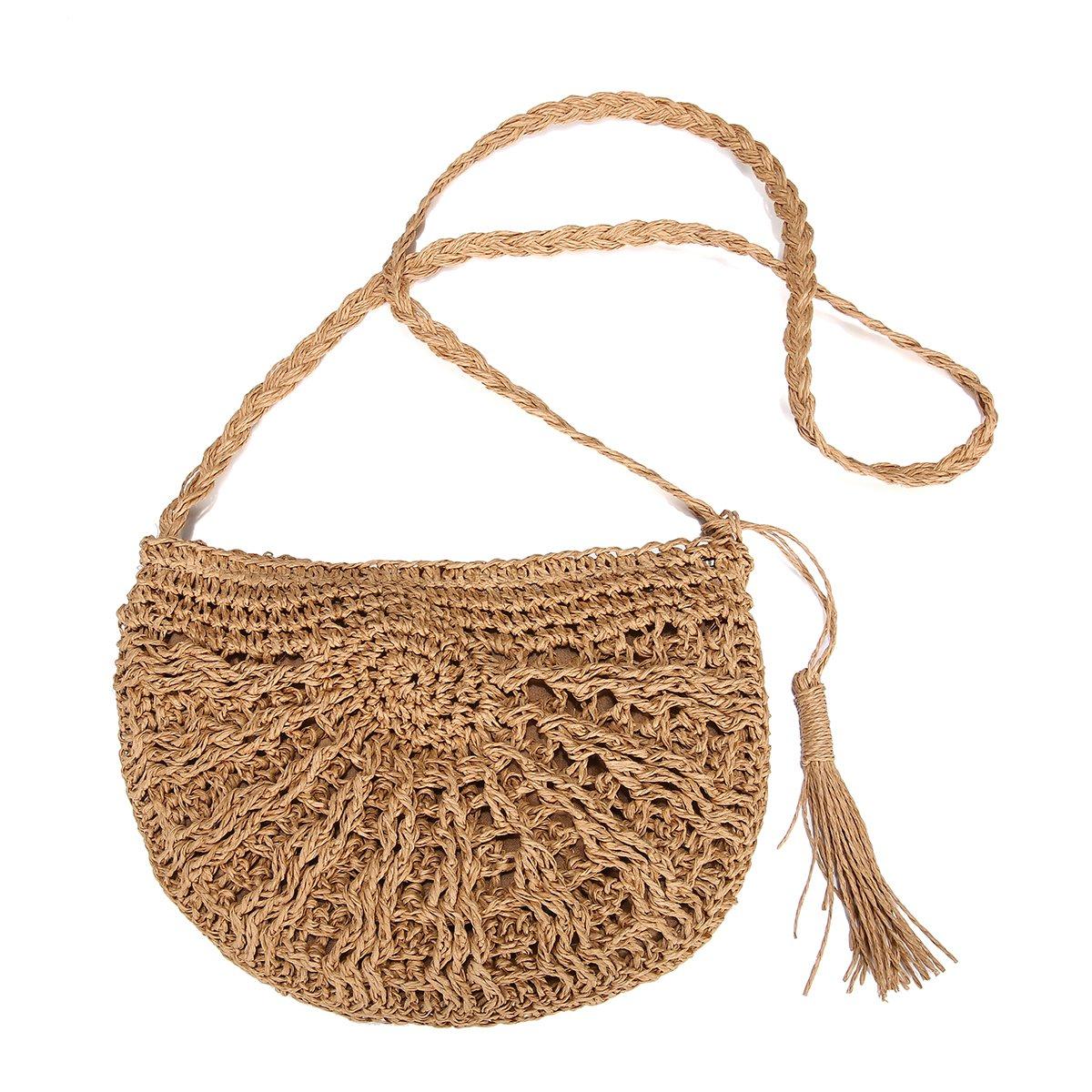 Straw Crossbody Bag, JOSEKO Women Weave Shoulder Bag Summer Beach Purse for Travel Everyday Use JOSEKO Women Weave Shoulder Bag Summer Beach Purse for Travel Everyday Use Khaki 28 x 15 x 26cm(L x W x H) JOSEKOUSRnal1552