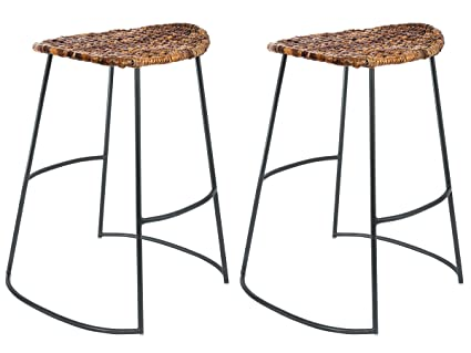 BirdRock Home Industrial Seagrass Counter Stools | Hand Woven | Metal Frame  | 24 Inches |