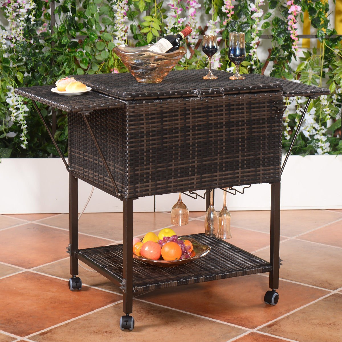 Amazon.com: Wicker Cooler Cart | Outdoor Serving Cart With Wheels For Patio  Bar And Classy Teak Look For Entertaining Guests In The Backyard, Garden,  Patio, ...