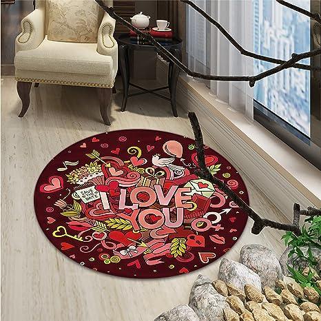 Amazon.com: Cartel retro redondo alfombra de área Vintage I ...