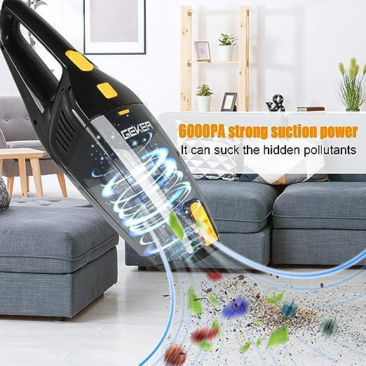 MingBin Aspiradora de Mano Sin Cable, 6000PA 120W USB Recargable Aspirador Mano, Tecnología Ciclónica Aspirador Potente,Seco y Húmedo, 3 Boquillas para Liquido, Cocina y Coche: Amazon.es: Coche y moto