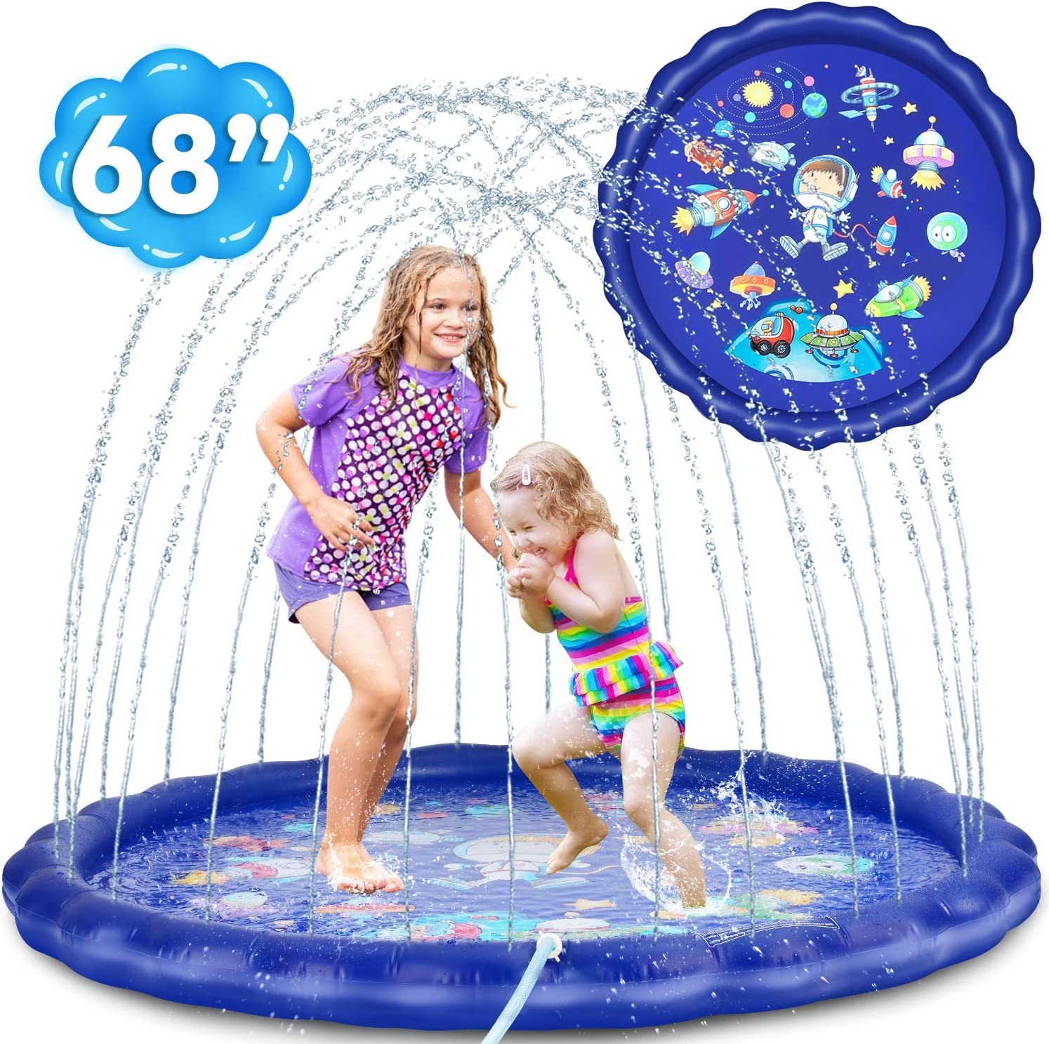 Mixsuper Sprinkler Pad Splash Inflatable Mat Play Mat 59 Baby Wading Pool Sprinkler Pool Summer Outdoor Water Toys for Children Boys Girls 3 4 5 6 Years Old