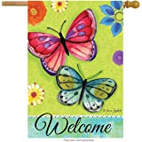 "Spirited Butterflies Spring House Flag Welcome Floral 28"" x 40"" Briarwood Lane"