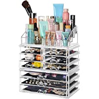 """SortWise ® [DIY Buildable - L] Detachable 9 Drawers Cosmetic Makeup Cosmetics Organizer Clear Acrylic Storage Container Box Case Multipurpose / 9.4"""" X 11.8"""" X 5.5"""", 3 Pieces Set"""