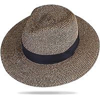 f950454520e52 Panama Hat Sun Hats for Women Men Wide Brim Fedora Straw Beach Hat UV UPF 50