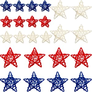 24 Pieces 4th of July Star Shaped Rattan Balls Decoration, Includes 12 Pieces 2.36 Inch and 12 Pieces 3.5 inch Red White and Blue Star Shaped Wicker Balls for Home Decor DIY Vase Bowl Filler Ornament