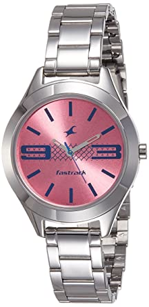 5e5a646ff Image Unavailable. Image not available for. Colour  Fastrack Analog Pink  Dial Women s Watch-NK6153SM02