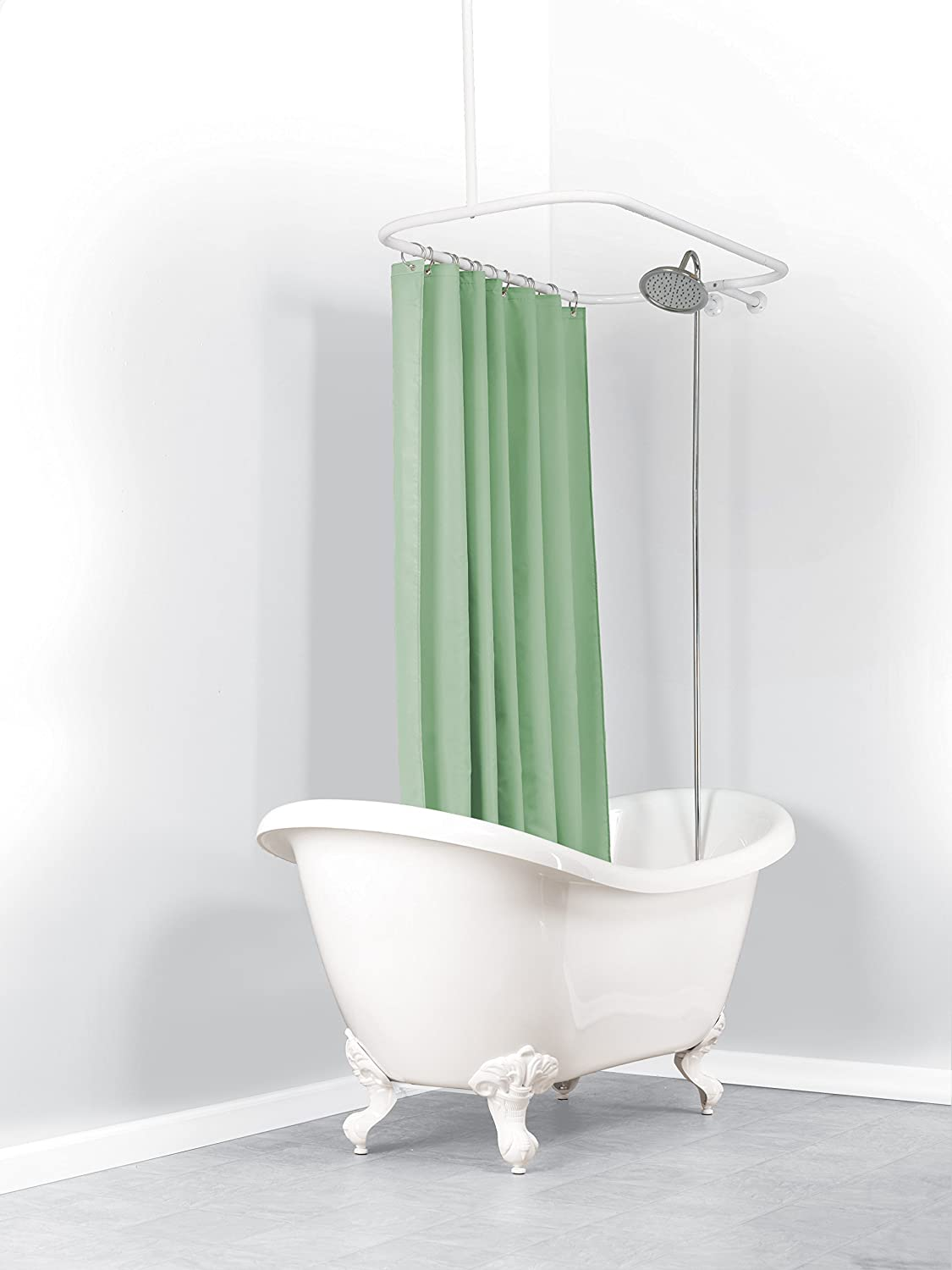 Amazon.com: Zenna Home 34941, Hoop Shower Curtain Rod for Claw ...
