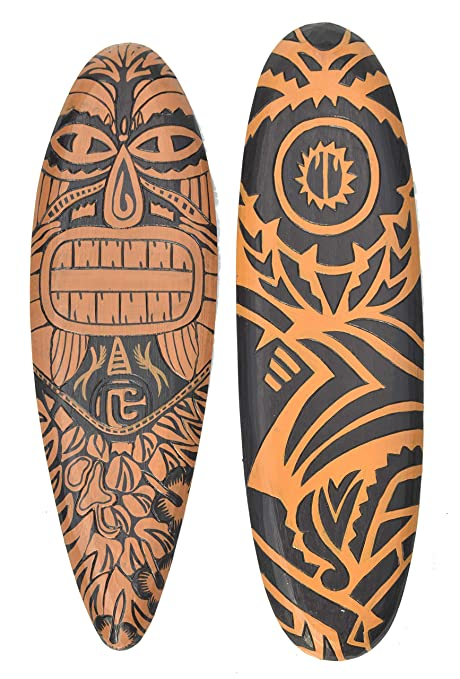 interlif estyle 2 Unidades Decoración Tabla de Surf Tribal maorí 60 cm en Tiki Hawaii Style