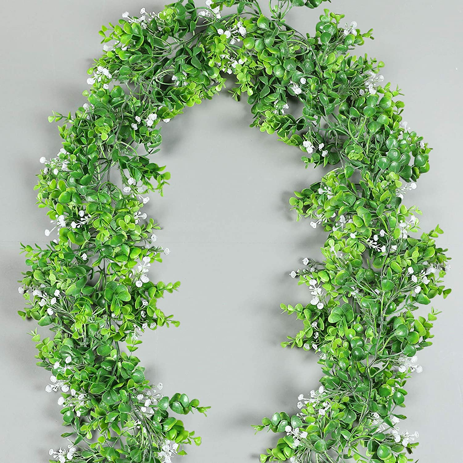 Luyue 2 Pack 5.9ft Artificial Eucalyptus Garland Plant Hanging Greenery Leaves Faux Babysbreath Flower Vines for Decoration Outdoor Wedding Arch Decor-(with White Flowers)