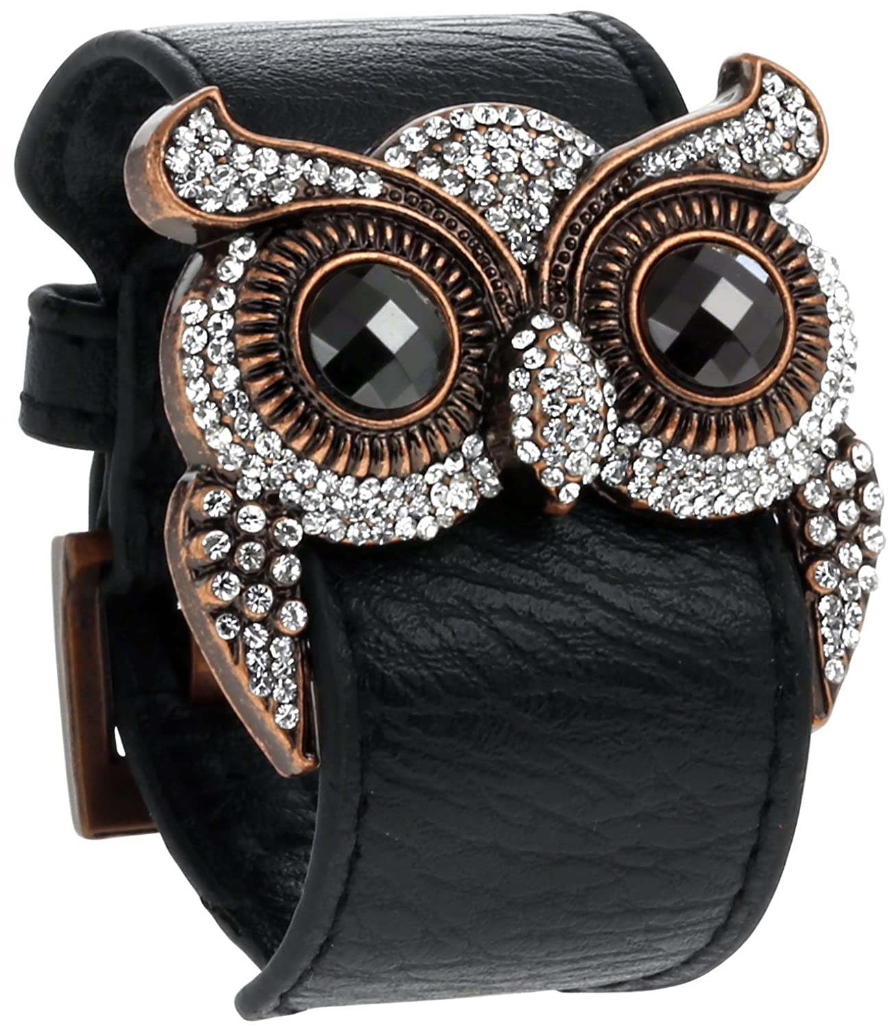 Amazon: Leather Cuff Bracelet With Crystal Owl Charm, Adjustable  Wristband With Metal Alloy Buckle, By Regetta Jewelry: Jewelry