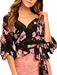 69b4f7d15914e8 HaoDuoYi Women s Chiffon Floral Print Wrap V Neck Top Blouse with Tie