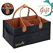 XariSanctuary Baby Diaper Caddy Organizer | Large Portable Tote Bag for Girl Boy | Car Travel Organizer | Nursery Diaper Storage Bin for Changing Table Basket | Newborn Registry Must Have