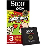 Sico Play ¡Saboréame! Condones de hule látex sabor fresa cartera con 3 piezas