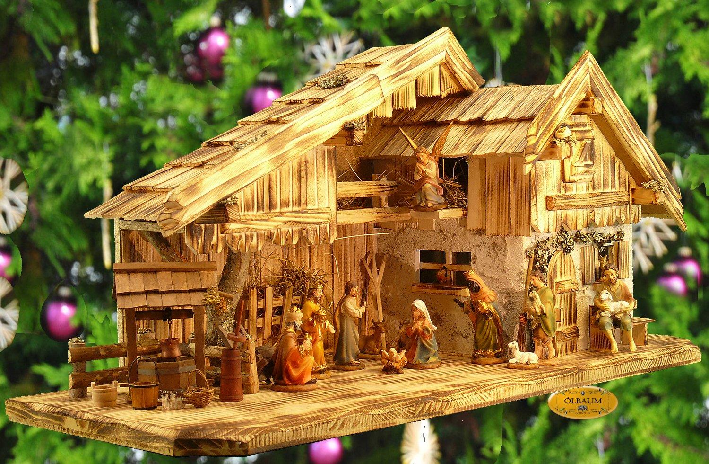 ÖLBAUM-Krippe KA70ng-MF-ALP- XXL Holz - Weihnachtskrippe mit großer Bodenplatte, mit Holz-Brunnen MIT HOLZDACH + PREMIUM-DEKOSET
