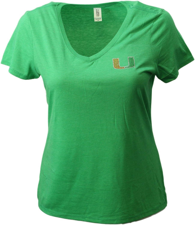 Nitro USA NCAA Miami Hurricanes Womens Super Soft Womens Collegiate Bling V-Neck Tee Green 2X