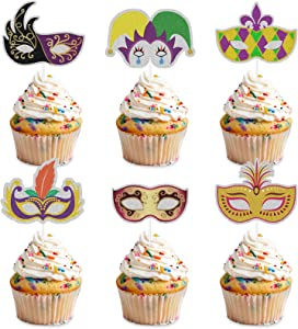 Mardi Gras Mask Cupcake Toppers - Masquerade Masks Party Clear Treat Picks for Masquerade Party/Birthday Party/Costume/Bachelorette Party Decorations -18Pcs