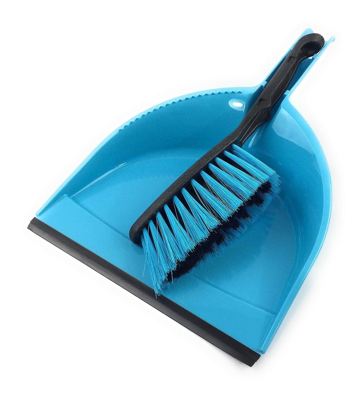 York Azur Handkehrset mit Gummilippe - Kehrgarnitur - bunter Schaufel Besen Set - Kehrblech breite 21, 5 cm - Handfeger Feger Kehrset (Blau) FFFine