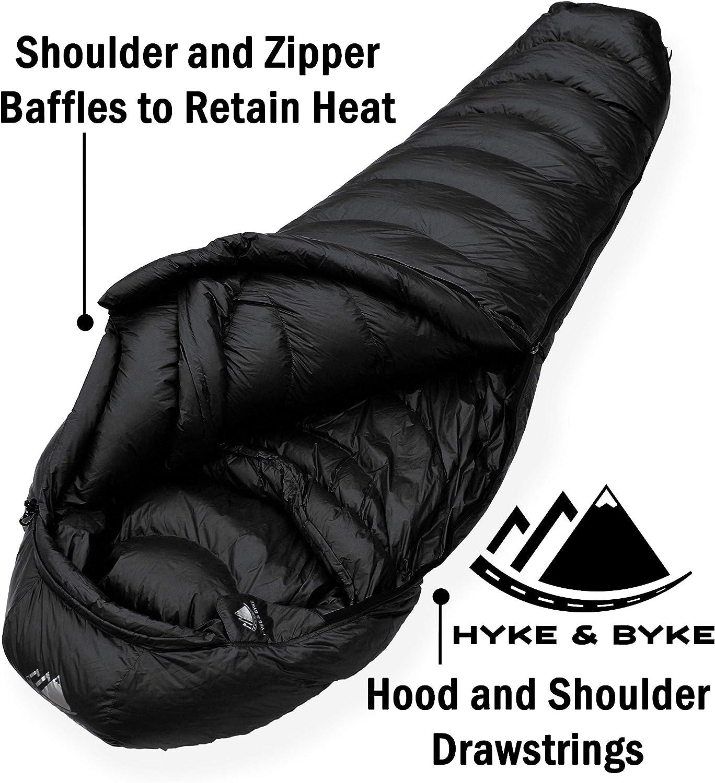 15/ºC Saco de Dormir de Plum/ón Hyke /& Byke Snowmass Saco de Dormir Adulto Momia con Base ClusterLoft Ligero para Excursiones y Camping Camping Accesorios en 5 Colores Diferentes