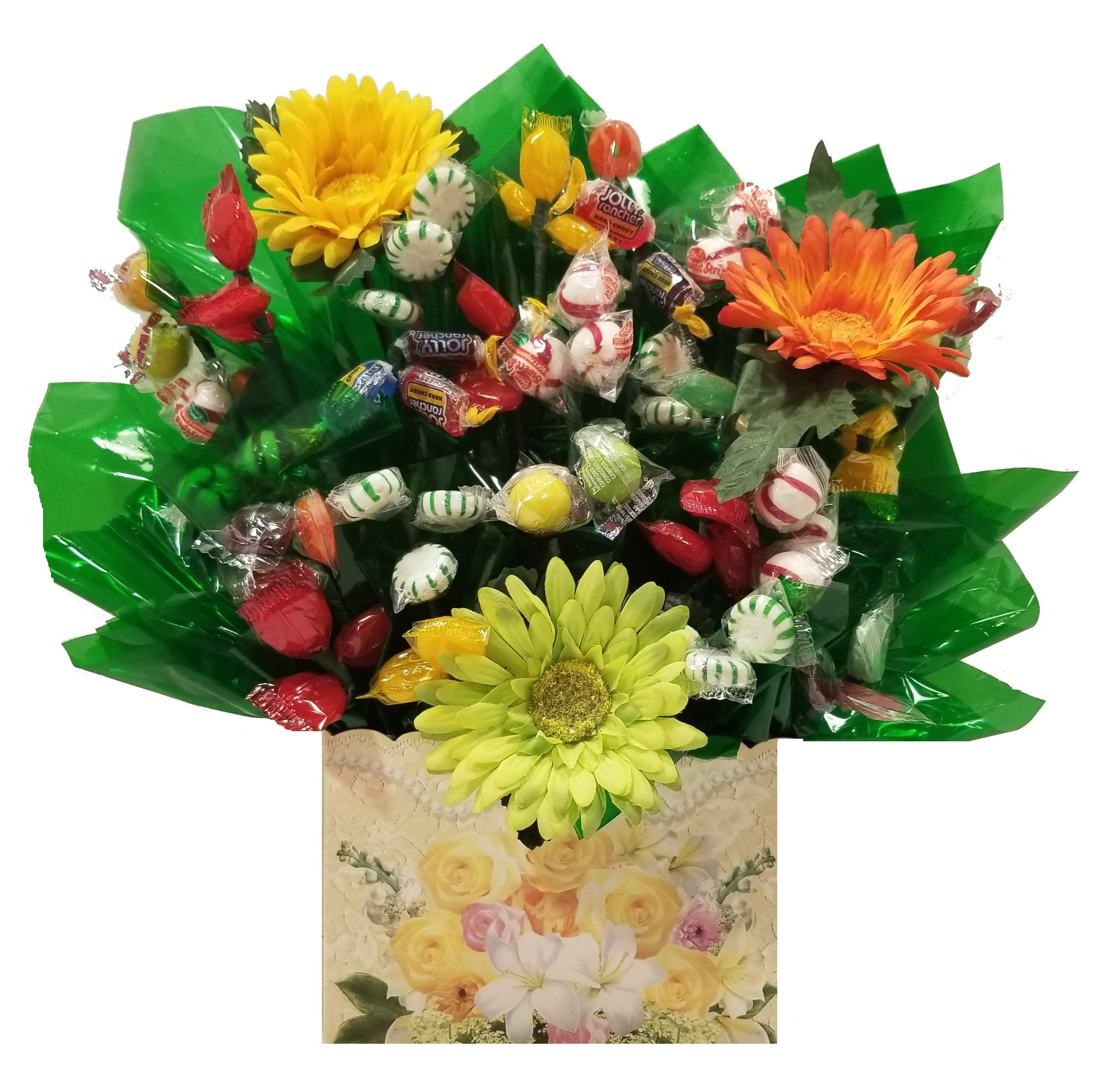 Flowers Hard Candy Bouquet gift - Great as a Birthday, Thank You, Get Well Soon, New Baby, New Home, Congratulations, Valentines Day gift or for any occasion (Many OPTIONS available below) by So Sweet of You