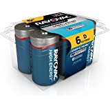 RAYOVAC D 6-Pack HIGH ENERGY Alkaline Batteries, 813-6PPK
