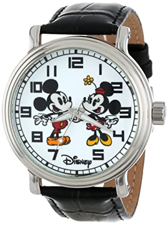 Mickey Mouse Watch Value >> Disney Men S W001012 Vintage Mickey And Minnie Mouse Black Leather Strap Watch