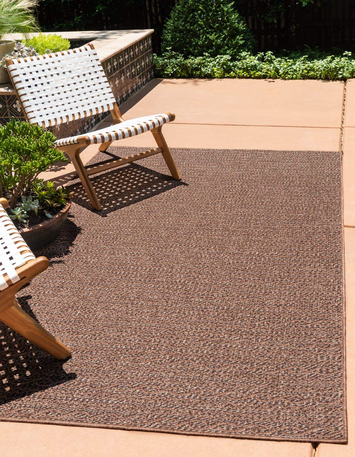 Unique Loom Outdoor Modern Collection Striped Casual Transitional Indoor and Outdoor Flatweave Brown Area Rug 3 3 x 5 0