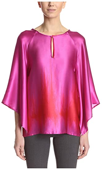 9a223144214 Natori Women's Blouse, Pink Multi, L at Amazon Women's Clothing store: