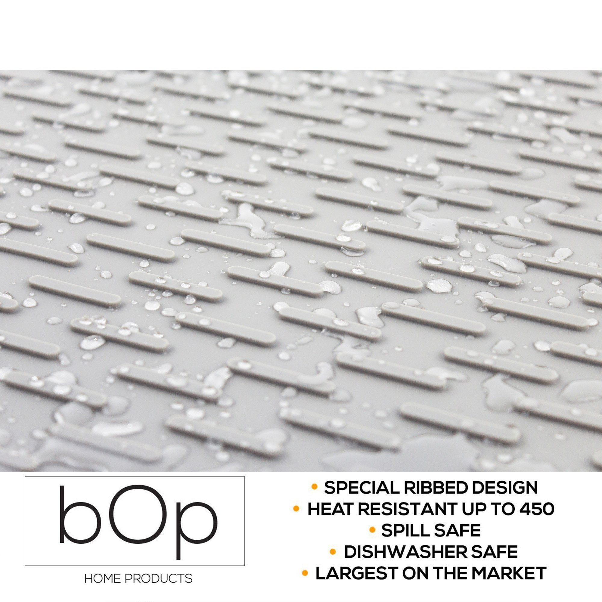 XXL 22''x18'' Gray Silicone Dish Drying Mat   Bar Mat   Anti-Bacterial, Dish Washer Safe   Heat Resistant Trivet (XXL Charcoal) by BOP Home Products (Image #3)