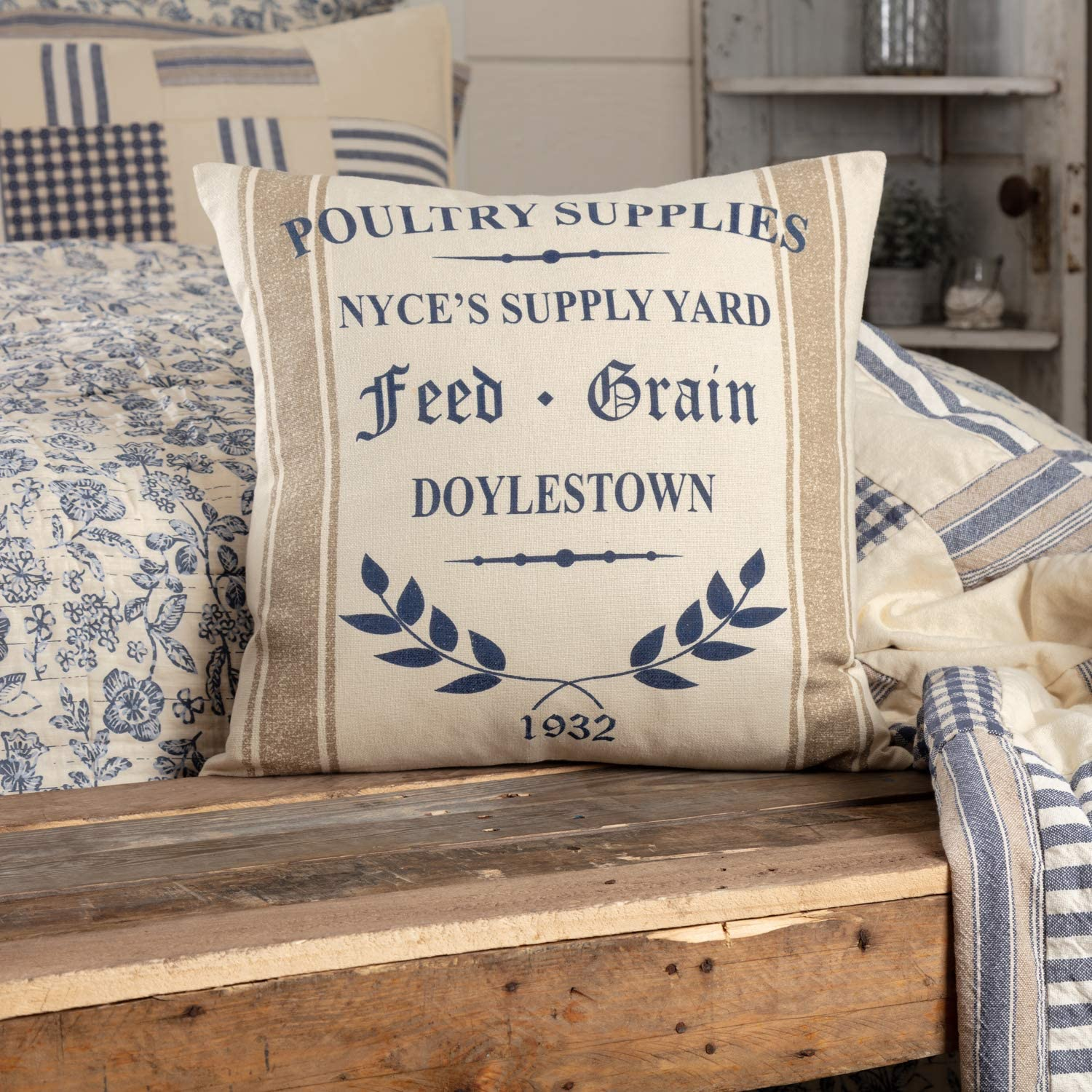 Piper Classics Doylestown Blue Nyce Supply Yard Throw Pillow Cover, 18