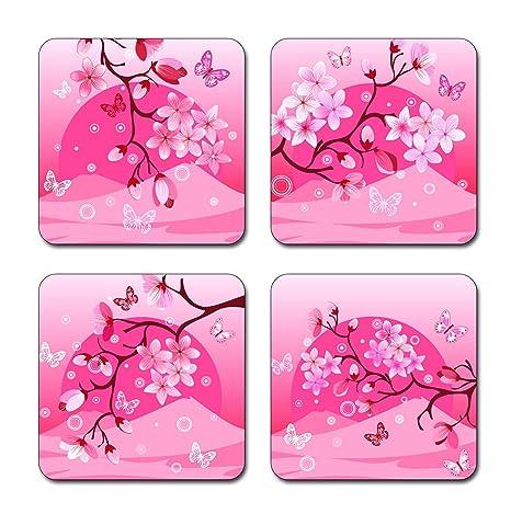Cuadrado Posavasos Conjunto de 4 color rosa flores de absorbente ...