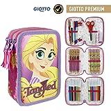 Cerdá Giotto Premium Tangled - Astuccio triplo con 43 accessori, Bambina, Multicolore, 12.5x19.5x6.5 cm