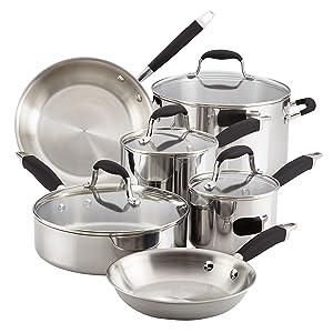 Anolon 31512 Tri-Ply Onyx Cookware Set, Large, Handles