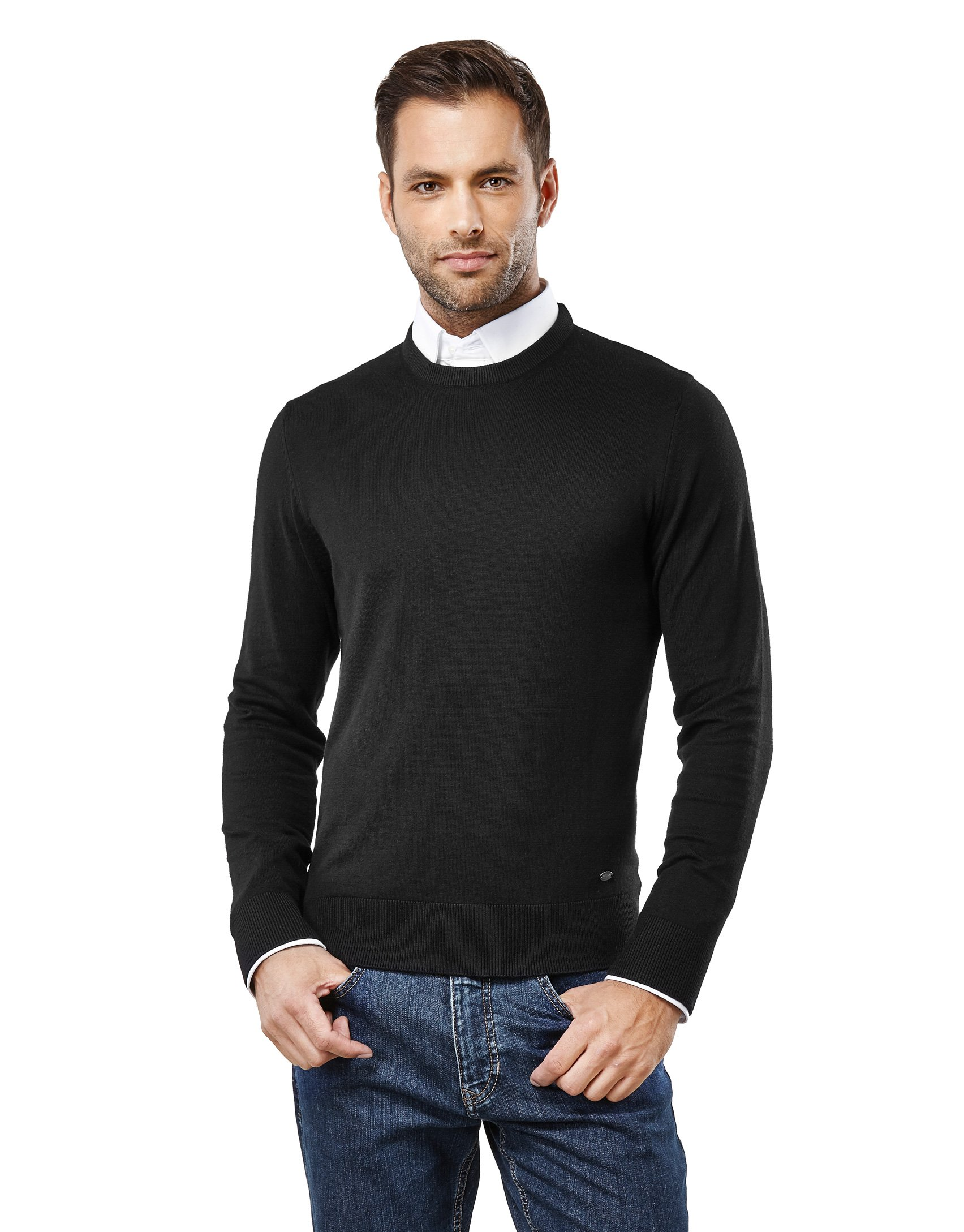 Vincenzo Boretti Men's Classic Knit Sweater Crew Neck Slim-fit Black Small