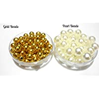 Am Goelx Golden Beads & Pearl Beads Combo (8 Mm) For Beading/Jewellery Making & Crafting !!