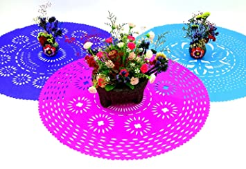 3 Pack Of Mexican Papel Picado Place Mats Fiesta Party Decorations Mexican Centerpiece Table Decorations Paper Doily 23 Inches Across Perfect For