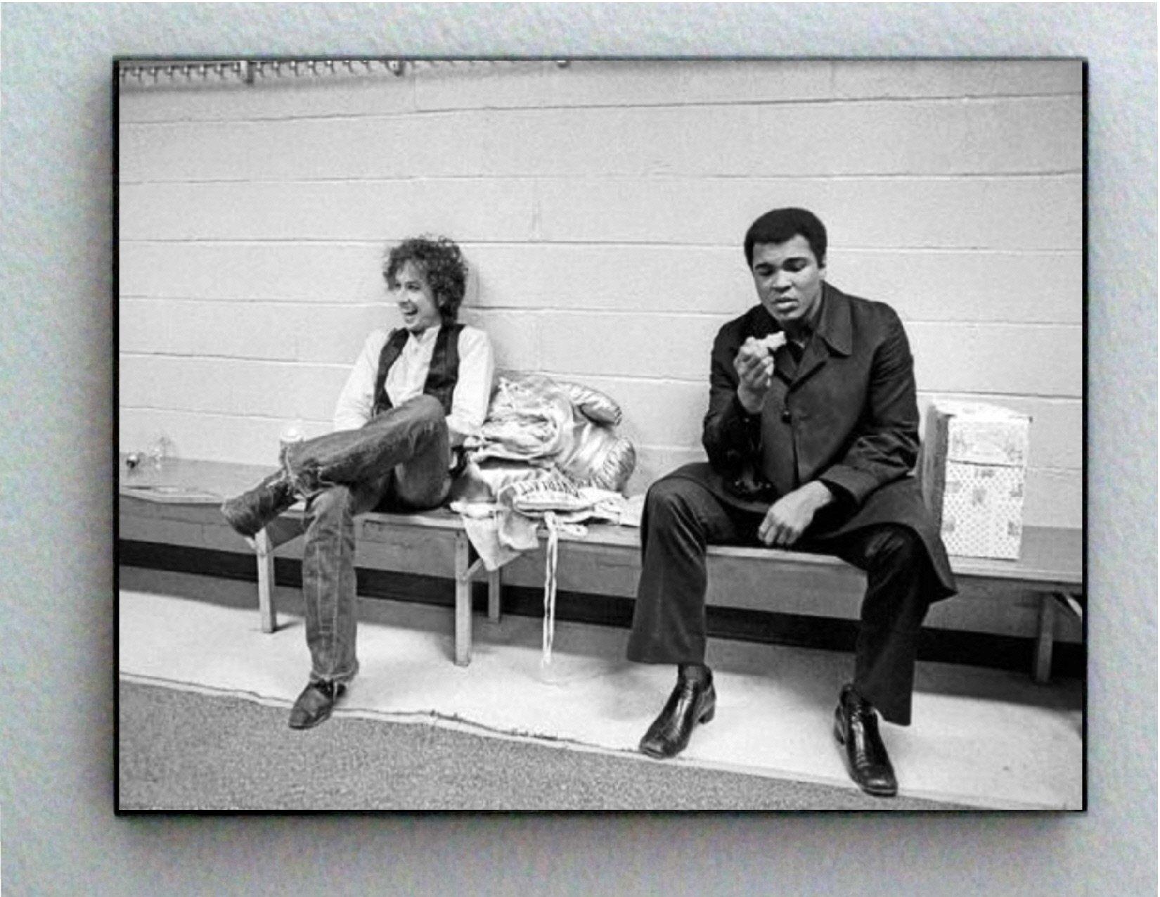 Rare Framed 1975 Muhammad Ali with Bob Dylan Vintage Photo. Jumbo Giclée Print