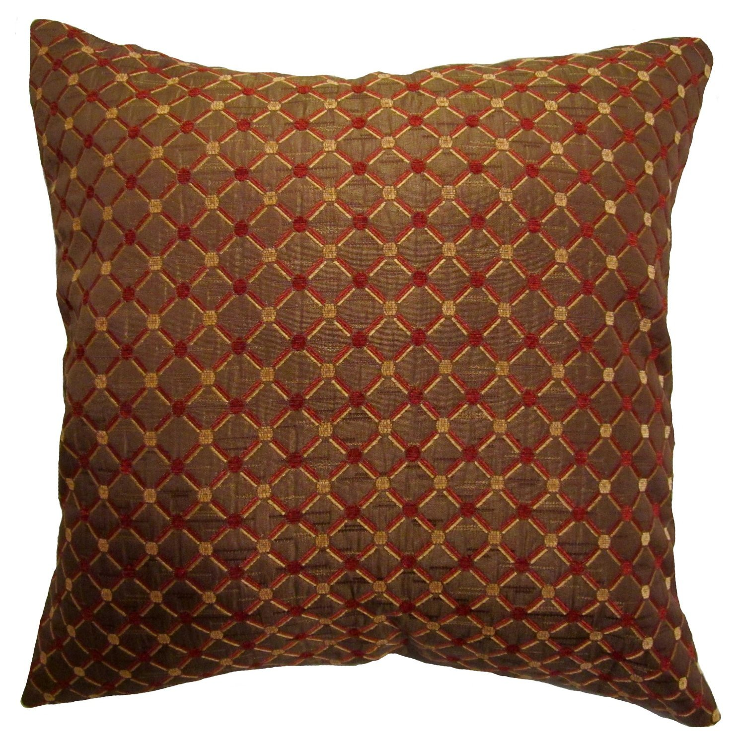 Amazon.com: 18x18 Burgundy and Gold Dots Brocade Decorative Throw ...