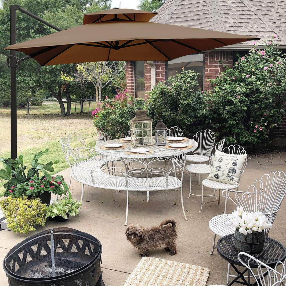 Abba Patio 9 by 12-Feet Rectangular Offset Cantilever Dual Wind Vent Patio Hanging Umbrella with Cross Base, Cocoa