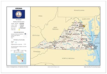 Amazon Com 13x19 Virginia General Reference Wall Map Anchor Maps